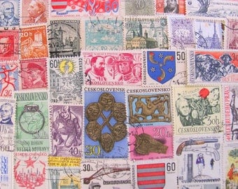 Czech It Out 50 Vintage Czechoslovakian Postage Stamps Czech Republic Ceskoslovensko Prague Czechoslovakia Steampunk Art Nouveau Philately