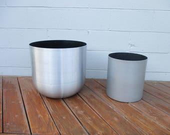 Paul Mayen Mid-Century Modern Aluminum Planter Pots Habitat 2  ARCHITECTURAL CYLINDER PLANTER Pots