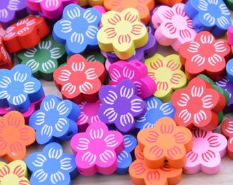 50 Assorted color wooden beads, colorful wood beads, Jewelry wood flower Beads, flower painted wood bead pendant, wood flowers 19mm
