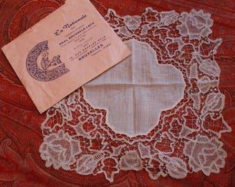 Brussels Exquisite Antique Lace Handkercheif Dainty Needle Lace Trim
