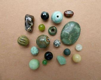 18 Green Beads, Glass, Ceramic, Gemstone, Composition