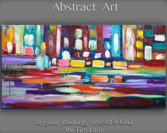 """Sale Large wall Painting art Original Abstract Oil painting Modern decor colorful painting stripes patches on canvas art by Tim Lam 48 x 24"""""""