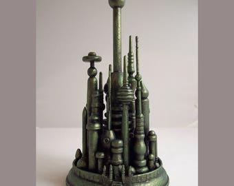 Wizard of Oz Party Centerpiece Handmade Emerald City Sculpture Wood Oz Miniature Green Towers L Frank Baum Oz Topper