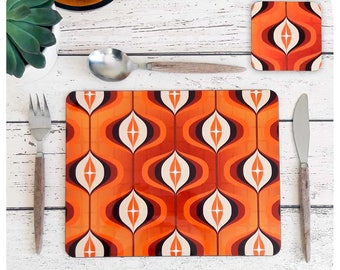 Orange Op Art Placemat and Coaster - 70s Kitchen - Retro Christmas Gift - Retro Dinnerware - 1970s Retro place mats & Coasters - 70s home