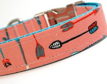 Handmade Dog Collar - Bow and Arrows in Coral Pink - Native Dog Collar Custom Made - Feathers - Modern Dog Collar