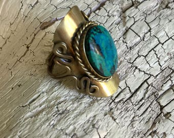Vintage Turquoise Ring -:- Adjustable Brass Statement Ring - Southwest Style- Boho Chic - Bohemian Couture