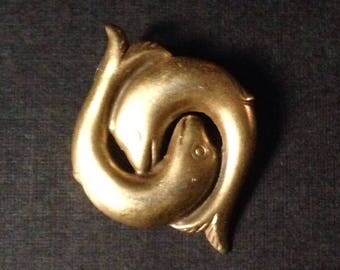 Twin Dolphins in a Yin Yang Style Pin! MMA Hallmarked Replica with Lovely Details! SWEET!