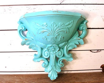Distressed Shabby Chic French Cottage Wall Pocket in Turquoise, Upcycled Homco Wall Vase, Country Cottage Decor