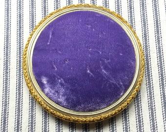 Vintage Velvet Pincushion, Purple and Gold, Violet Pin Cushion Velveteen