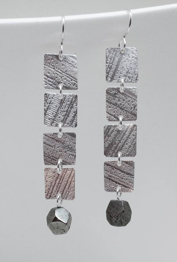 Zig Zag Sterling Silver Texture with Pyrite Earrings