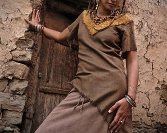 Pixie Long short  Brown Raw silk Shirt With with ethnic Embroidery Natural eco friendly