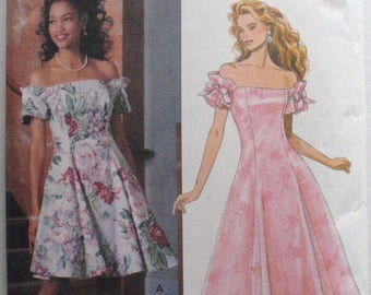 Off The Shoulder Fit and Flare Dress Pattern - Butterick 6154 - Sizes 12-14-16, Bust 34 - 38