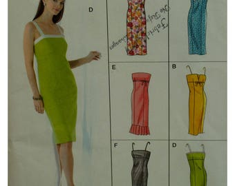Fitted Sundress Pattern, Strapless, Straps, Empire Waist, Princess Seams, Evening Wear, Vogue No. 8069 UNCUT Size 12 14 16