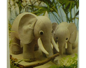 """Stuffed Elephant Pattern, Toy, Mama and Baby, Jungle Decor, 1970s, Style No. 2052 UNCUT Size 12'(30.5cm) and 8.5"""" (21.5cm)"""