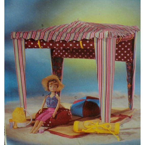 Doll Beach Cabana Pattern Clothes Bean Bag Chair Fashion Accessories McCalls No 4065 UNCUT Fits 115 29cm From VogueVixens On