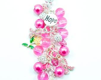 Breast Cancer Awareness Purse Charm, Key Chain Charm, Key Fob, Purse Jewelry, Pink Ribbon