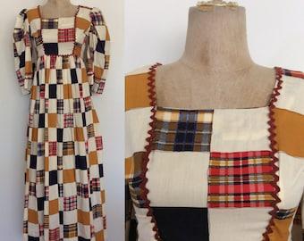 1960's Patchwork Cotton Vintage Maxi Dress w/ Back Metal Zipper Size XS Small by Maeberry Vintage