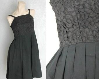"""30% OFF 1950's Lace + Chiffon Vintage Little Black Dress Sz XS 24"""" Waist by Maeberry Vintage"""
