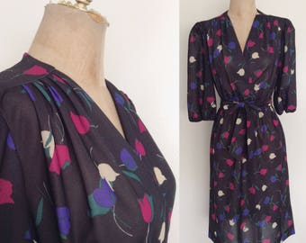 1980's Polyester Tulip Print Dress Black Multicolored Faux Wrap Size Small Medium Large by Maeberry Vintage