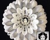 Princess Leia Star Wars White and Silver Penny Blossom Rhinestone Flower Barrette