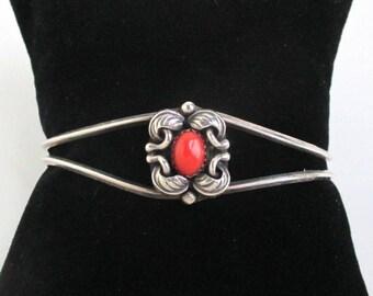 Native American Sterling Silver & Coral Cuff Bracelet - Vintage Southwestern