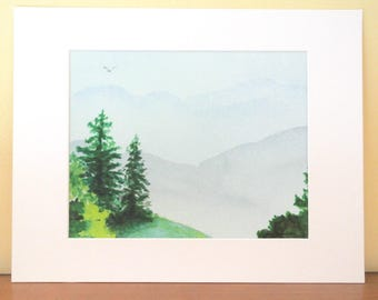The Mountains Are Calling, Blue Ridge GICLEE mountain landscape, fir trees, evergreens, 11x14 matted, by Martha Kuper Brinson