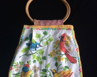 Hoop dreams - Bamboo handle bag with kitsch bird print handmade from vintage fabrics