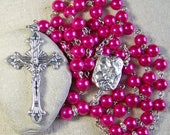 Catholic rosary handmade with hot pink pearls in silver with rhinestone accents