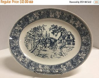 Sale Vintage Platter Blue and White Ye Old Mill Unmarked