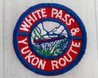 """Used Small Vintage 2"""" White Pass and Yukon Route Patch, USA Canada Railroad Applique, Railroadiana, Skagway Alaska to Whitehorse Yukon"""