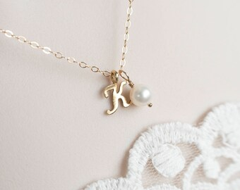 Initial Necklace, Gold Filled Initial Necklace, Script Initial Necklace, Alphabet Initial Charm Necklace, Dainty Minimal Modern Necklace