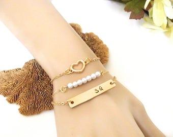 Gold Bar Bracelet, Gold Bar Jewelry, Pearl Bracelet, Gold Bracelet Set, ID Bracelet Set, Layering Bracelet Set, Girlfriend Gift, Wife Gift