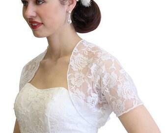 7 Days Sale Bridal lace jacket, WHITE bridal Lace Bolero, wedding shrug With Short Sleeve 720ROS-WHI