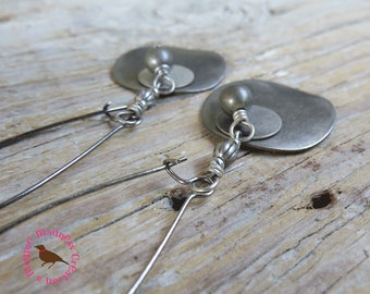 Long Antiqued Silver Double Disc Earrings, Silver Dangle Earring, Steampunk, Minimal Double Silver Disc Earrings, by MagpieMadness for Etsy