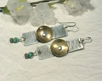 Silver and brass long earrings, dangle earrings, gift for girlfriend, rustic earrings, long drop earrings, bohemian earrings, metal earring