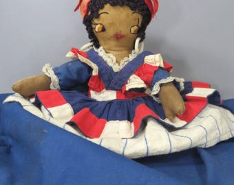 Vintage Black Americana Cloth Doll, Red, White & Blue Flag Dress, Mammy Doll