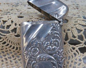 Art Nouveau Sterling Silver Match Safe Pill Box Whiting & Co. Vesta Case Tobacciana
