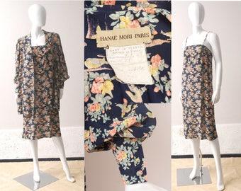 1970s HANAE MORI Silk Dress and Jacket / 70s Designer