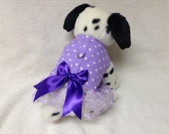 Dog Harness Vest Dress Skirt And Optional Matching Leash White Dots On Lavender Fabric  Custom Sizes From XSmall - Medium Lavender Polka Dot
