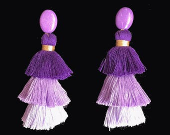 Big Tassel earrings - Lilac