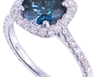 14k white gold round cut blue topaz and diamonds engagement ring halo prong set natural deco wedding anniversary half eternity 2.10ctw