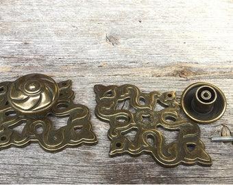 Pair Drawer Pulls, Mid Century, 2 Vintage Brass Cabinet Door Hardware, Chunky Cabinet Handles, Burnished Brass