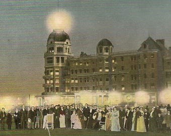 Poland Spring House Lawn Fete and Illumination Unused Antique Postcard Tuck - Neat Night View