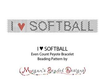 Bead Pattern: Even Count Peyote Pattern I Heart Softball Bracelet with Word Chart - Peyote or Brick Stitch Pattern