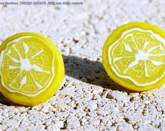 Lemon earrings, slice, yellow polymer clay polymer