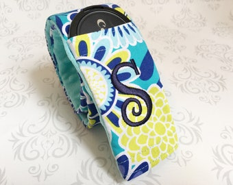 Camera Strap Cover with Lens Cap Pocket - Canon, Nikon, DSLR Camera Accessory, Photographer Gift - Aqua and Navy Flowers with Aqua