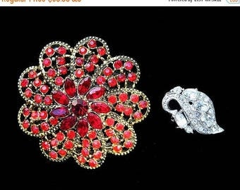 20% OFF SALE - Lot of Two Signed HOLLYCRAFT Rhinestone Brooches