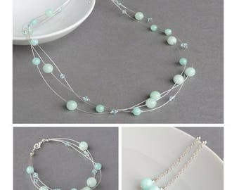 Grayed Jade Multi-strand Jewellery Set - Aqua Necklace, Bracelet and Earrings - Mint Green Bridesmaids Gifts - Bridal Party Gifts - Wedding