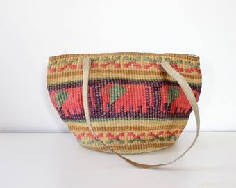 Sisal Market Bag • Vintage Straw Bag • Elephant Tote • Summer Straw Purse • Vintage Straw Tote • Large Market Bag • Elephant Bag | B950