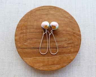 Watercolour Ball Kindney Wire Earrings